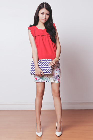 Tricia Gosingtian - Kate Katy Top, Kate Katy Skirt, Kate Spade Clutch, Sleeh Heels - 070714 | LOOKBOOK