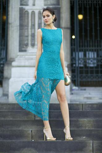 from brussels with love blogger turquoise lace dress slit dress sandals
