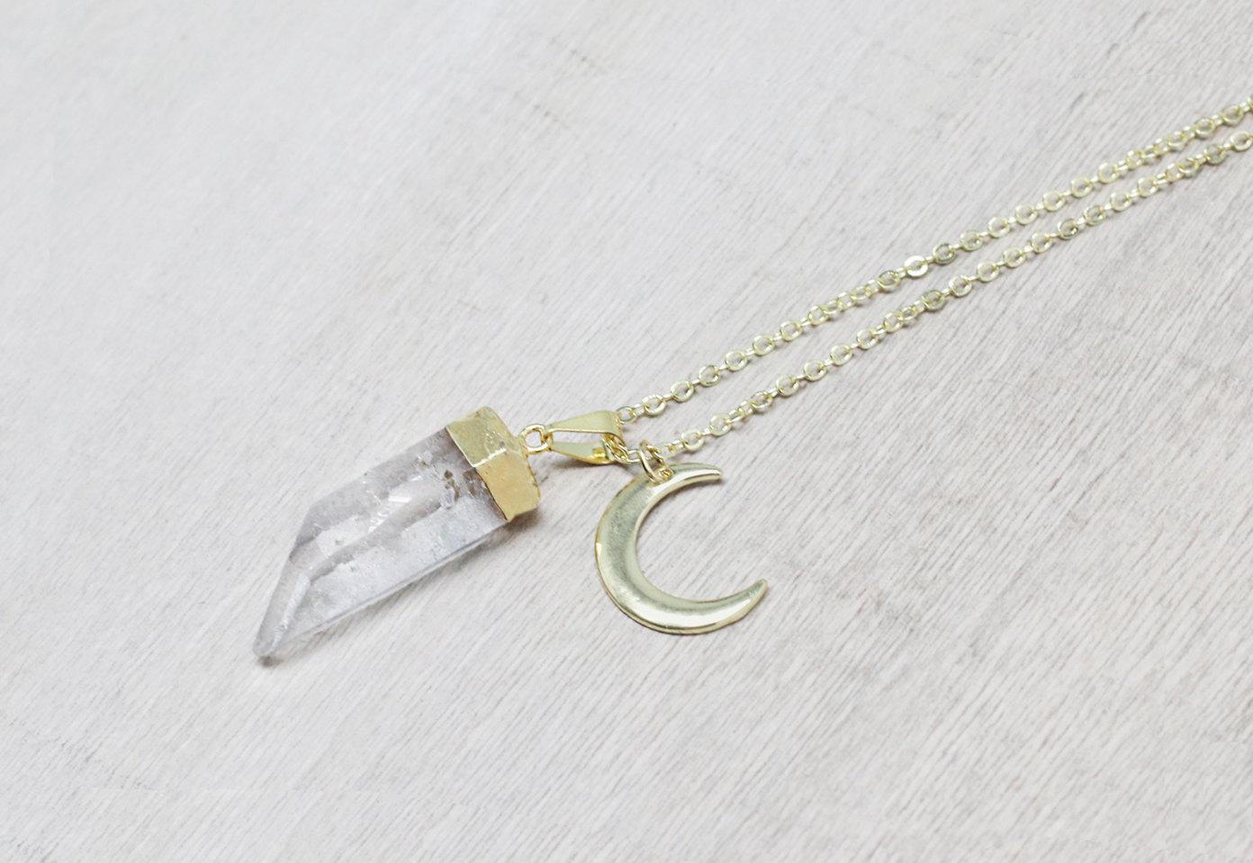 Crescent Moon Quartz Pendant Necklace / gold plated raw quartz necklace / 0665