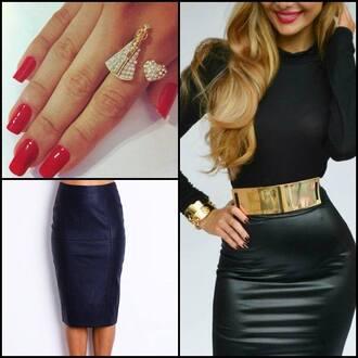 skirt jupe faux cuir cuir