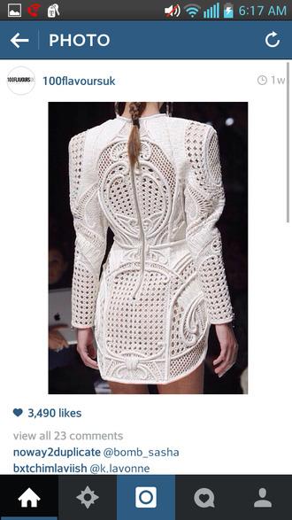 balmain embroidered dress white dress