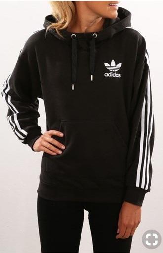 sweater hoodie black adidas