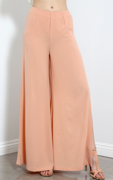 Side Slit Lace Palazzo Pants | MakeMeChic.com