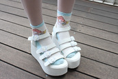 shoes,white,buckles,sandals,platform shoes,kawaii,socks,cute,perf,shorts,socks and sandals,strap shoes,straps,wedges,heels,chunky,strappy sandals,pastel goth