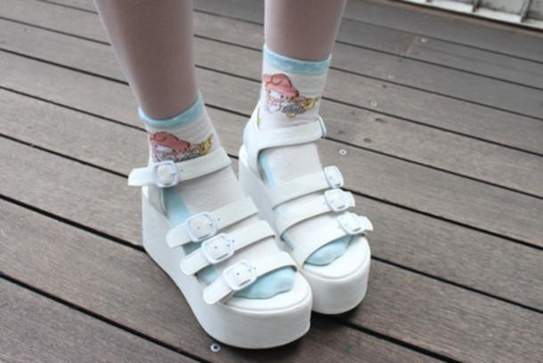 shoes white buckles sandals platform shoes kawaii socks cute perf shorts  socks and sandals sandals strap 40d15d55c696