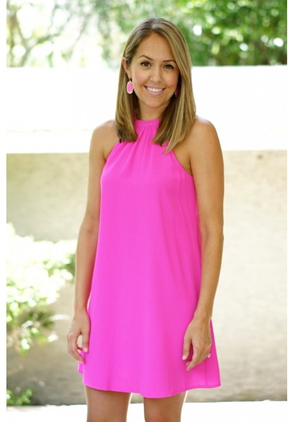 hot pink halter neck dress | Brittany | escloset.com