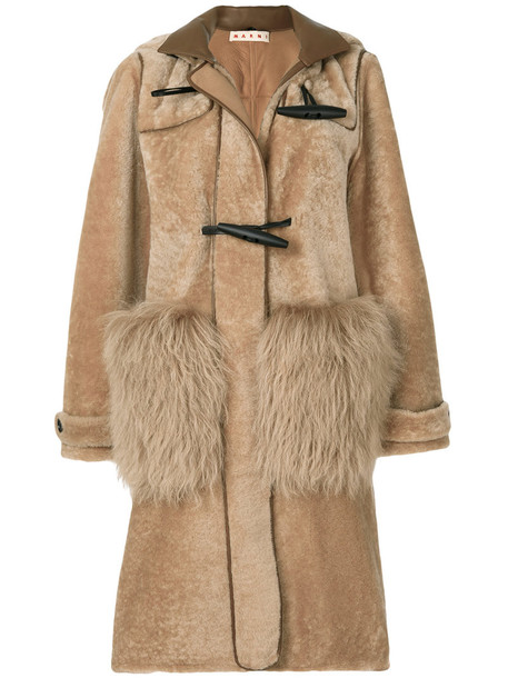 MARNI coat duffle coat fur women brown