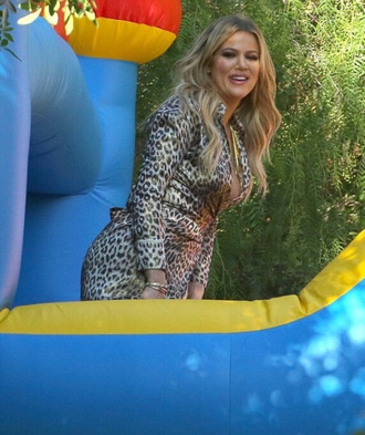dress animal print leopard print khloe kardashian wrap dress