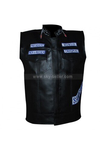 jacket jax teller mens biker motorcycle vest sons of anarchy