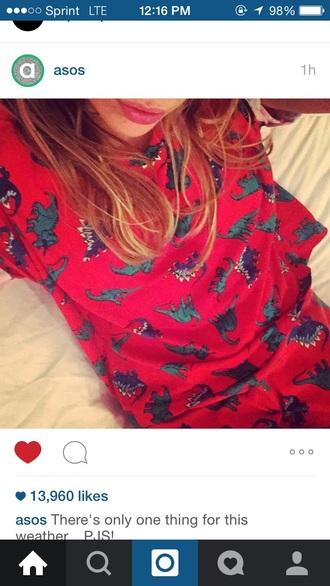 pajamas dinosaur comfy red animal pajamas dinosaur print pj's