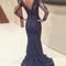Custom made deep blue lace long prom dresses - 24prom