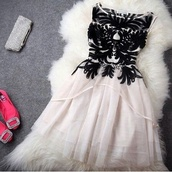dress,fit and flare,vintage dress,vintage,black and white,prom dress,white dress,black,lace dress,short,cute,cute dress,shoes,goog dress,mini white dress,formal dress,clothes,chic,black detail dress,black dress,black and white dress,blue prom dress,whithe,white,short dress,embroidered,cream dress,robe,dentelle noire,rose/blanc,transparent dress,pink dress,pink,girly,girly dress,soirée,superb,beautiful,prom