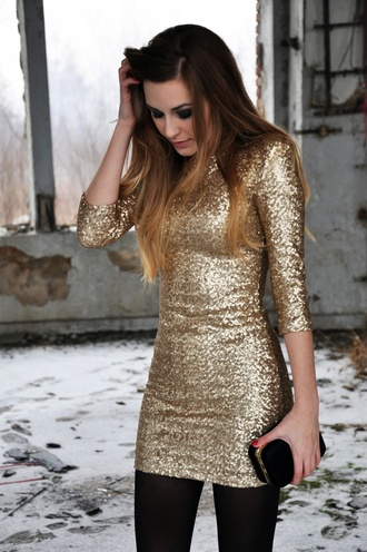 dress sequins gold black ombre sparkles winter dress winter fashion holiday fashion party dress bodycon dress evening dress stockings long sleeve dress