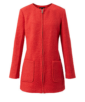 Red pocket front collarless coat