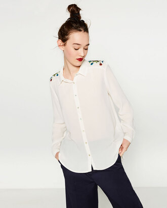 shirt embroidered embroidered shirt white shirt