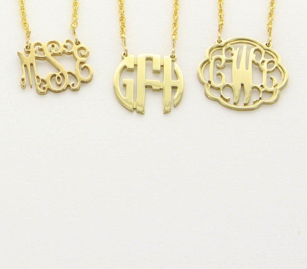 Filigree floating gold monogram necklace