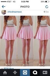 skirt,pink,circle skirt,skater skirt,crop tops,shirt,top,dress,white,bow,strapless