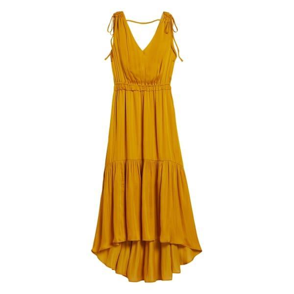 Banana Republic Women's Satin Ruched Maxi Dress Golden Yellow Size 6
