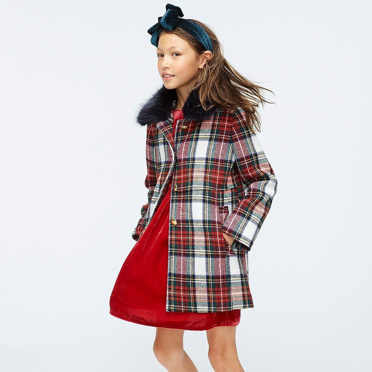 crewcuts Ruffle Trim Wool Coat In Snowy Stewart Tartan