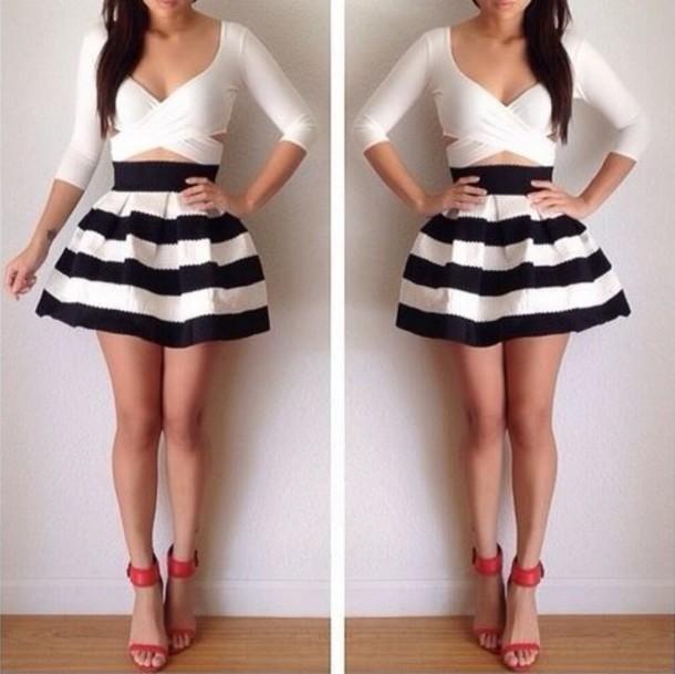 2754e44fad shirt white crop tops crop tops cute skater skirt skirt blue white stripes  pretty beautifull girl