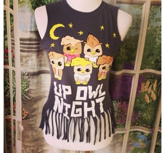 shirt up owl night owl black cute