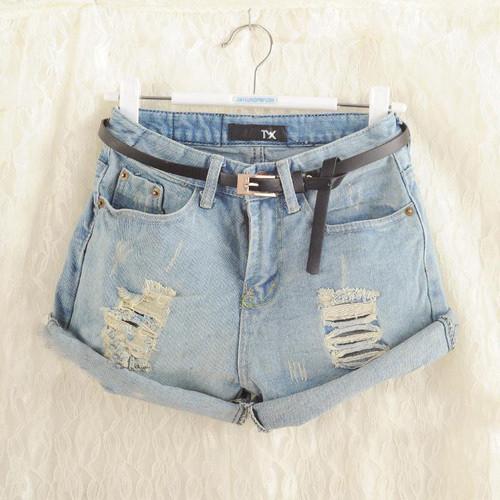 Light frayed denim shorts abahcg