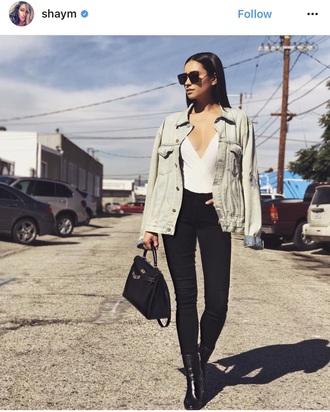 top white bodysuit bodycon blouse jacket denim jeans skinny black heels sunglasses model pretty little liars high waisted