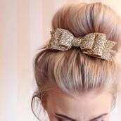 hair accessory,bow,sparkle,gold