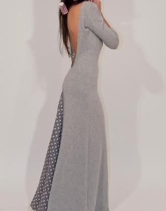 dress grey polka dots long sleeve dress backless dress open back
