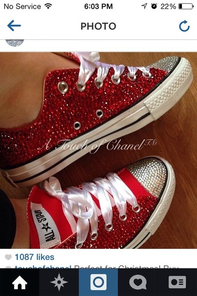 ec52d8c5a06741 shoes converse red bedazzled