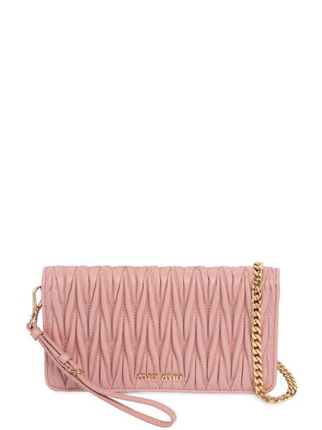 mini quilted bag shoulder bag leather pink