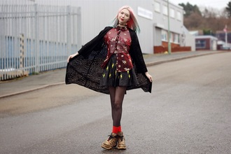 kayla hadlington blogger shirt coat skirt socks grunge