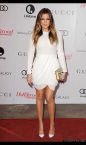dress,khloe kardashian,white dress,mini dress,prom dress,kardashians