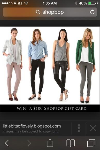 white shirt jacket green blazer grey jeans