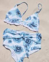 bikini,blue bikini,swimwear