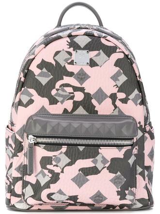 women backpack leather pattern grey bag