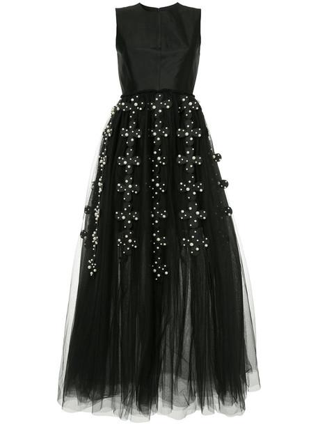 Huishan Zhang gown women floral black silk wool dress