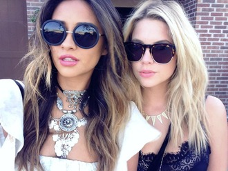 sunglasses shay mitchell ashley benson pretty little liars round sunglasses top lace black coin necklace necklace statement necklace jewels jewelry celebrity style celebrity celebstyle for less choker necklace layered silver jewelry silver necklace