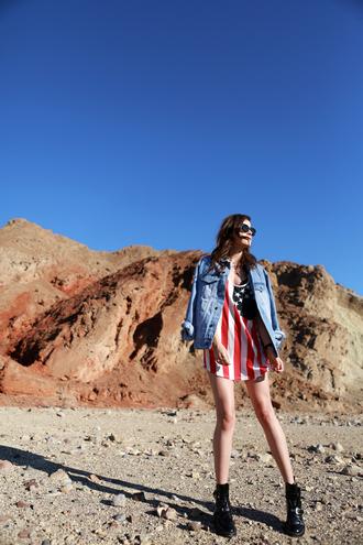 style scrapbook blogger top denim jacket american flag