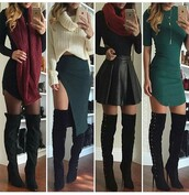 dress,outfit,outfit idea,fall outfits,summer outfits,winter outfits,cute outfits,spring outfits,date outfit,party outfits,trendy,clothes,fashion,streetstyle,streetwear,style,stylish,clubwear,club dress,casual,casual dress,long sleeves,long sleeve dress,black dress,sexy dress,short dress,party dress,mini dress,little black dress,special occasion dress,sexy party dresses,short party dresses,green dress,scarf,knitted scarf,winter scarf,skirt,mini skirt,black skirt,skater skirt,pencil skirt,black leather skirt,slit skirt,leather skirt,high waisted skirt,pumps,high heel pumps,heels,high heels,black heels,cute high heels,black high heels,high heels boots,boots,black boots,suede boots,thigh high boots,winter boots,over the knee boots,heel boots,little black boots,shoes,black shoes,sexy shoes,party shoes,cute shoes,cute skirt,pointed toe pumps,pointed toe,pointed boots,long sleeve crop top,sweater,sweater weather,winter sweater,cropped sweater,fall sweater,turtleneck sweater,turtleneck,top,black top,summer top,cute top