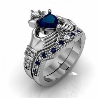 jewels claddagh ring set heart blue sapphire ring set silver claddagh ring set claddagh bridal ring set evolees.com claddagh engagement ring