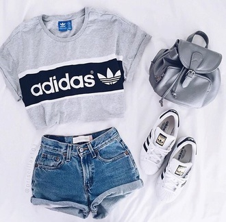 shirt white black adidas shirt grey