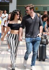 pants,stripes,striped pants,camila cabello,crop tops,cropped,off the shoulder,off the shoulder top,celebrity,black and white