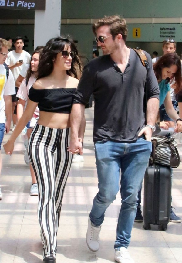 pants stripes striped pants camila cabello crop tops cropped off the shoulder off the shoulder top celebrity black and white