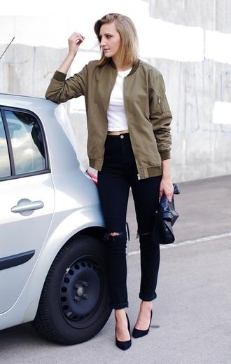 katiquette blogger shirt jeans bag shoes jacket