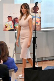 dress,nude,nude dress,work outfits,midi dress,melania trump,first lady outfits