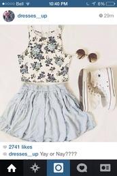 top,floral,crop tops,skirt,sunglasses,roses,skater skirt,light blue,converse,high top converse,cute outfits,feminine,floral top,sleeveless,tank top,summer top,summer outfits,style,floral tank top,floral crop top,shirt,blouse,flowers,summer,summer dress,hipster,tumblr,cute,blue