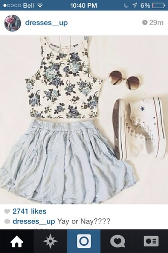 top floral crop tops skirt sunglasses roses skater skirt light blue converse high top converse cute outfits feminine floral top vest sleeveless blue skirt jeans cute skirt blouse pastel blue blue flower top white converse round sunglasses flower pattern white shirt tank top white floral summer crop blue flowers summer dress summer outfits hipster tumblr cute floral tank top