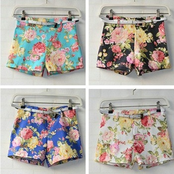 Women's Flowers Floral Print Shorts High Waist Mini Short Pants Hot Pants   Belt-in Shorts from Apparel & Accessories on Aliexpress.com