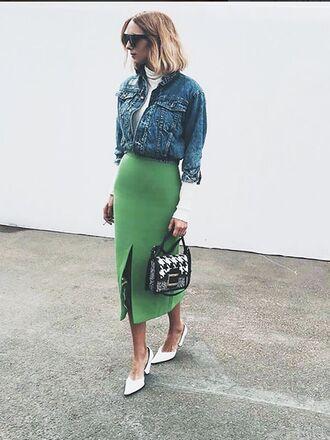 skirt maxi skirt green skirt jean jackets denim jacket high waisted sunglasses streetstyle
